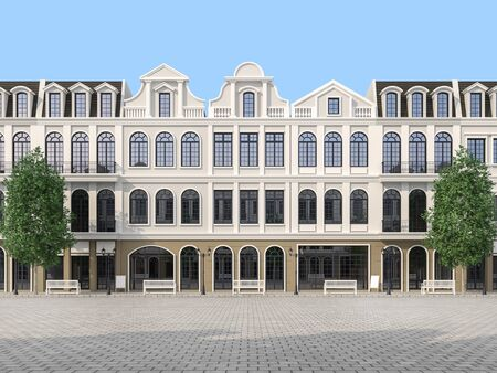 Large empty plaza with classical style building background 3d render.