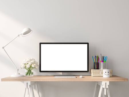 A blank computer screen on a wooden desk in a white room 3d render. Decorate with white rose and stationary,sunlight on the wall.