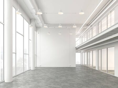 Empty modern loft office space 3d render with white color and polished concrete floor there are large window that offer views of the city.