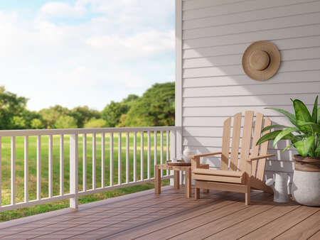 Vintage style wood terrace with blurry nature view 3d render, There are wooden floor and white plank wall, funished with wooden chair,overlooking to the large garden
