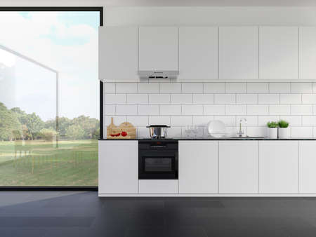 Minimal style whte kitchen counter with nature view 3d render,The rooms have black tile floors, white tile wall with brick pattern,Large windows overlooking a large garden, sunlight into the room.