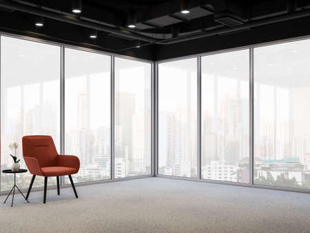 Modern office corner with city view 3d render, gray carpeted floors, glass walls and black ceiling decorated with orange chairs with large windows overlooking the building outside.