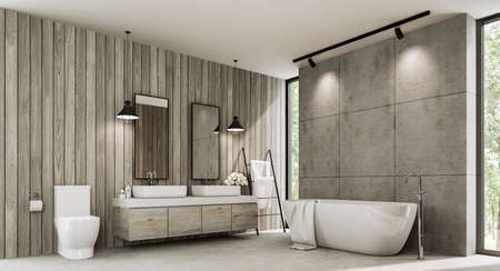 Loft style bathroom with wood plank and concrete wall 3d render,There polished concrete floor ,old wood cabinet with white terrazzo counter top,with tall window overlooking nature view Archivio Fotografico