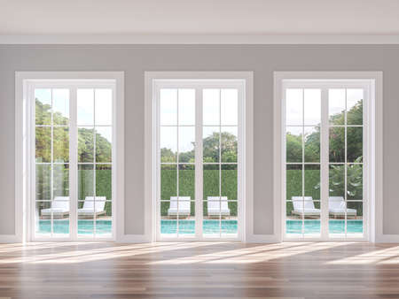 Empty classical style with swimming pool background 3d render, The room has wood floor gray wall and white door overlooking the pool terrace and nature view.