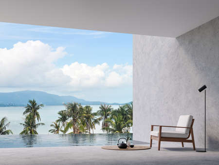 Minimal loft style swimming pool terrace with sea view Archivio Fotografico