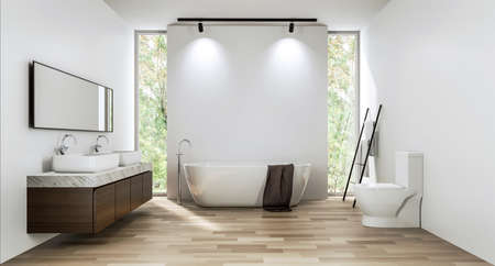 Modern contemporary bathroom with empty white wall