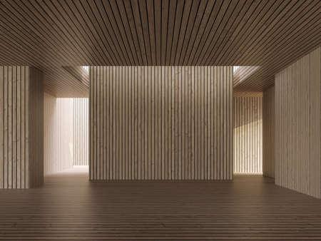 Wood plank room modern contemporary interior space  with empty wooden backdrop Archivio Fotografico