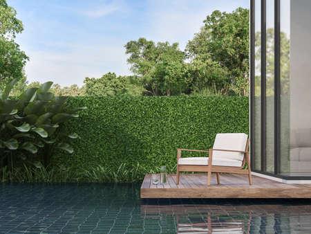 Modern contemporary  terrace on the swimming pool Archivio Fotografico