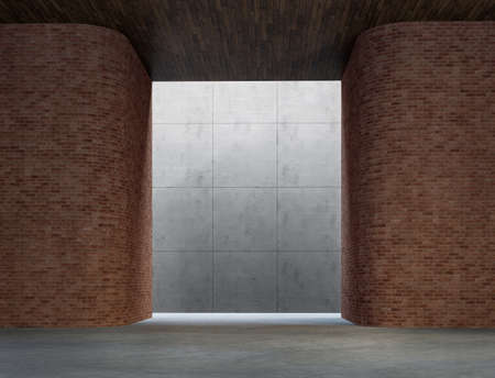 Modern loft space interior 3d render,There are round corner brick wall, blank background with concrete wall,a plank ceiling, natural light from above.