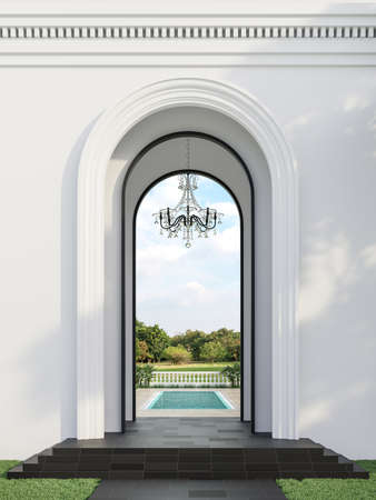 Classical style swimming pool gate with nature view background 3d render, There are arch shape hall and black granite floor decorate with glass chandelier over looking pool terrace and garden.