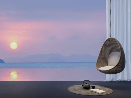 Modern contemporary style swimming pool terrace with sunset background 3d render.There are black granite tile floors finished with rattan egg shaped furniture overlooks to dusk time sea view.