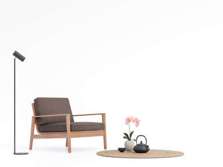 Brown fabric and wood chair on white background 3d render Decorate with minimal style black lamp and hyacinth mat