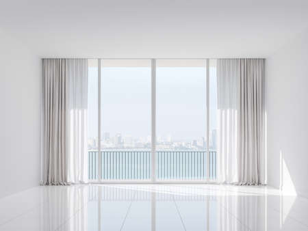 Empty white room with sea and city view 3d render.The Rooms have white wall and glossy floor.There are white window overlooks to terrace and bay view.