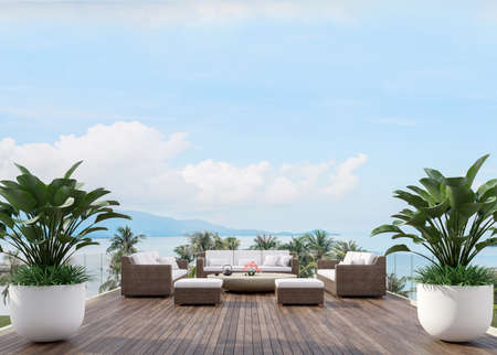 Large wooden terrace with sea view 3d render,There has wooden floors,glass railing,decorated with fabric and rattan furniture, decorated with big tree pot Archivio Fotografico