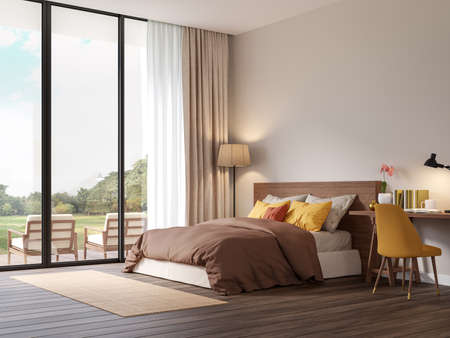 Red brown tone bedroom with nature view 3d render,The Rooms have wooden floors ,decorate with colorful fabric bed,There are large  sliding doors, Overlooks wooden terrace and big garden.