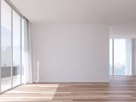 Empty room with coastal city view 3d render,The Rooms have white wall and wooden floor.There are white window overlooks to terrace and bay view. Archivio Fotografico