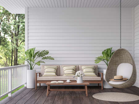 Vintage terrace with nature view 3d render, There are old wooden floor and white plank wall,decorate with wood,fabric and rattan furniture,overlooking to the green garden background