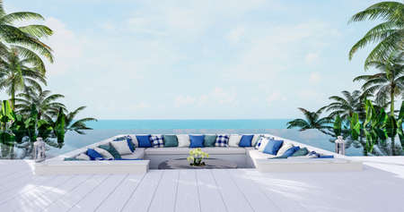 Pit of large seat set in the swimming pool with sea view 3d render,There has white wooden floors,decorate with white and pillow.Looking out to nature view.