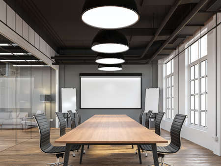 Modern loft style meeting room 3d render.There are white and gray wall,old wood floor,black ceiling with building system pipe.