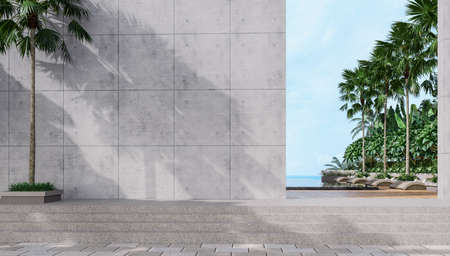 Empty concrete wall with tropical style swimming pool background overlooking the sea, sunlight shining on the wall with tree shadow.3d render