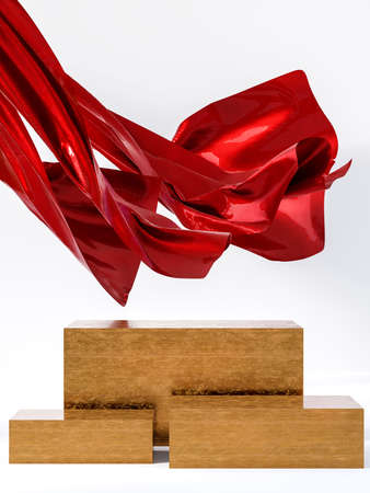 Golden display stand with a metallic red curtain blown by the wind on white background 3d render