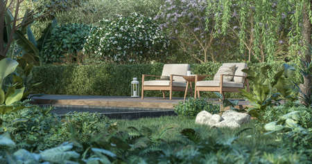 Wooden terrace in the tropical garden 3d render, There are a wooden floor , green plant fence,Decorated with wood and white fabric chair,Surrounded by nature.