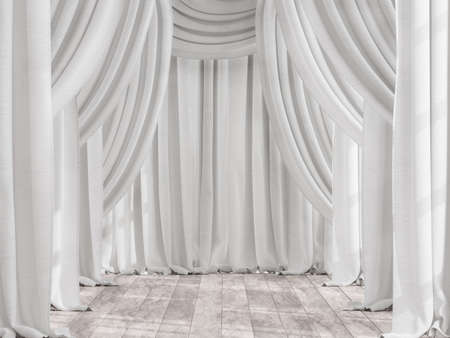 White cotton fabric curtain background with old wood floor 3d render