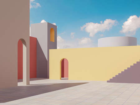 Minimal style colorful building exterior with blue sky background 3d render