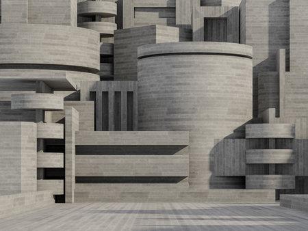 Concept of concrete building exterior background 3d render