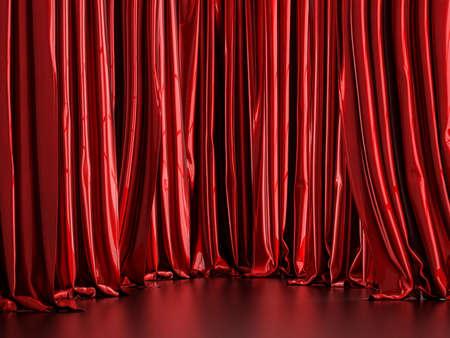 Red metallic curtain background 3d render Stock fotó
