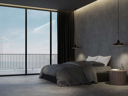 Minimal loft style bedroom with sea view background 3d render,there are polished concrete floor decorate with dark gray furniture overlooking terrace behide. 免版税图像