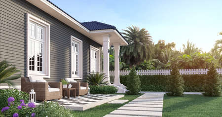 Luxury house in the beautiful garden 3d render,white doors, gray plank walls and blue roof tiles, decorated with outdoor wicker chairs. The orange sun shone in front of the house.