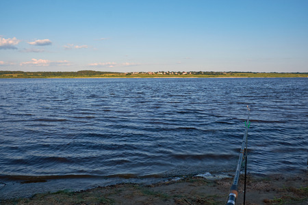 feeder rod on the bank of the river Northern Dvina