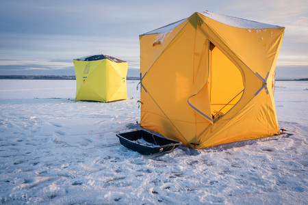 Tents on winter fishing