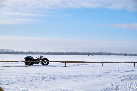 homemade all-terrain vehicle in winter