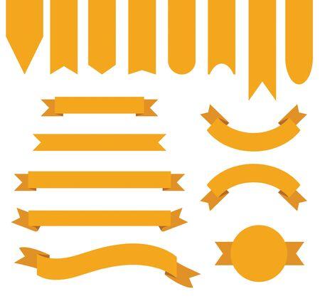 Orange Ribbon Banner Collection Illustration