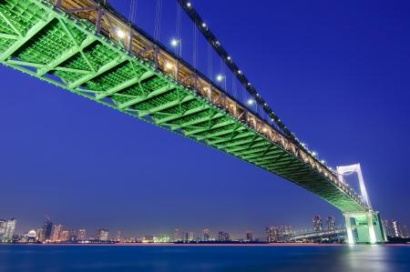 tokyo prefecture: Tokyo s Rainbow Bridge with Tokyo skyline in the background