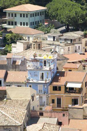 verandas: View over the rooftops of Pizzo Calabro, Calabria, Italy Stock Photo
