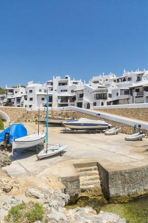 menorca: Storeroom boats of fishing village, Menorca, Spain