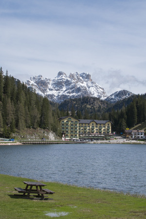 lake misurina: Lake misurina and dolomites panorama in early summer