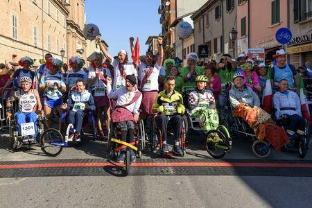 Rimini Marathon 04-30-2017, the start of disabled. Stock Photo - 134858528