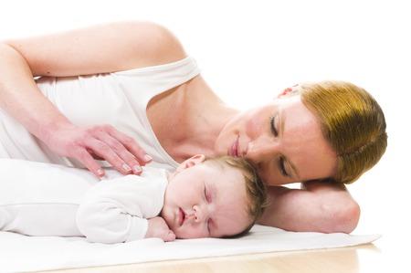 Mom and newborn baby photo