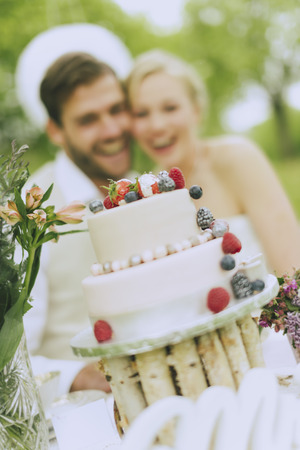 raspberry dress: romantic boho wedding outside in green, in the foreground can be seen sharply the wedding cake, the background rejoice in blur Bride and groom.