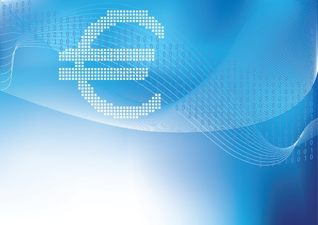 Euro in halftone in blue background with copyspace