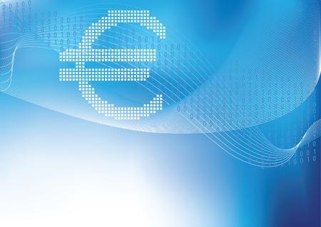 Euro w półtonów w niebieskim tle z copyspace