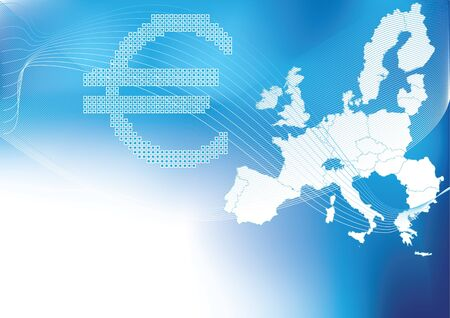 Euro in dots with europe,europa map