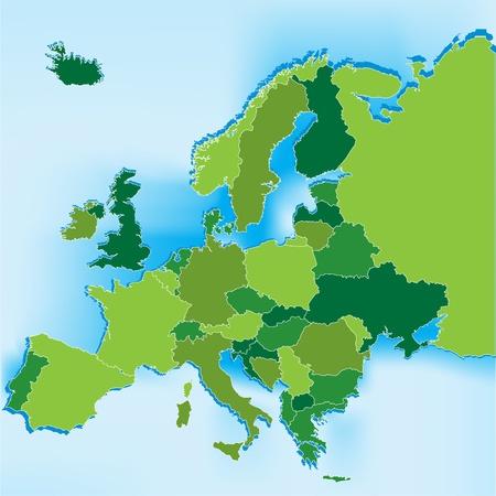 青色の背景とヨーロッパ