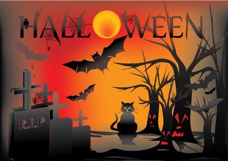tombes: Carte de Halloween avec le chat, le hibou, chauve-souris, les arbres Illustration