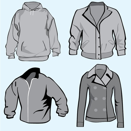ふだん着: ジャケット、パーカー、コートやトレーナーのテンプレート セットまたはコレクション