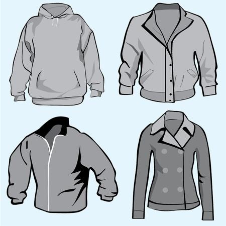 Jacket,hoodie,coat or sweatshirt template set or collection  Vector